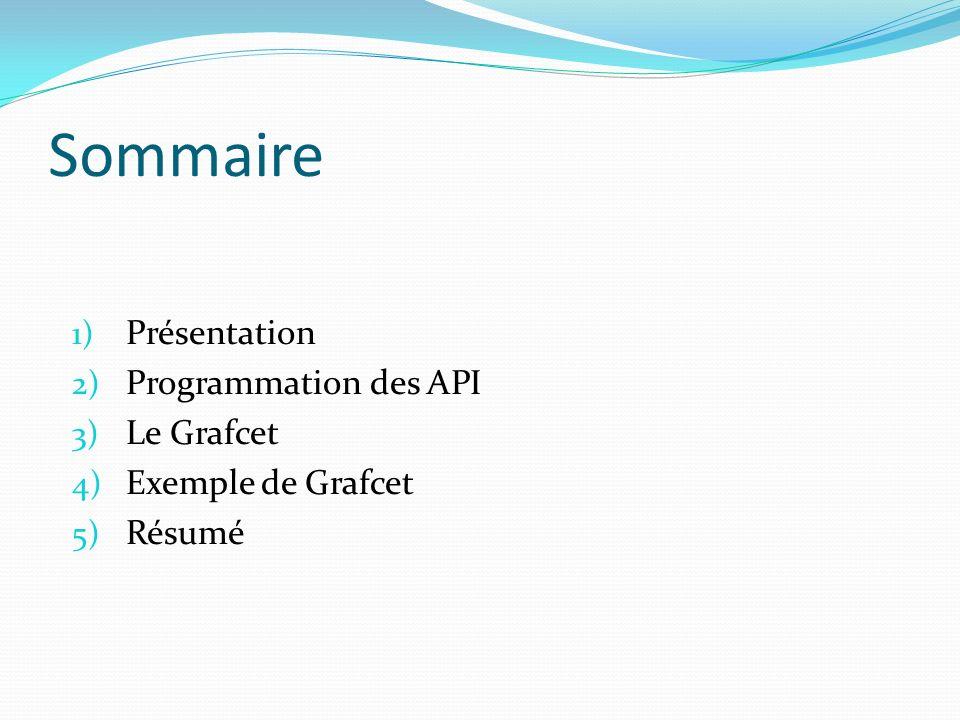 Sommaire Présentation Programmation des API Le Grafcet