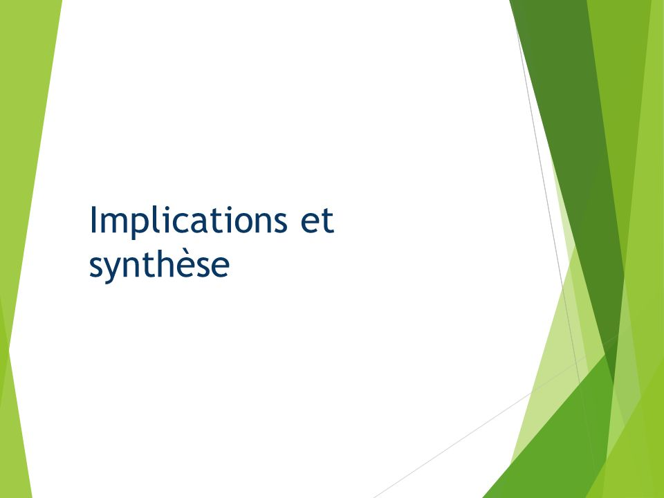 Implications et synthèse