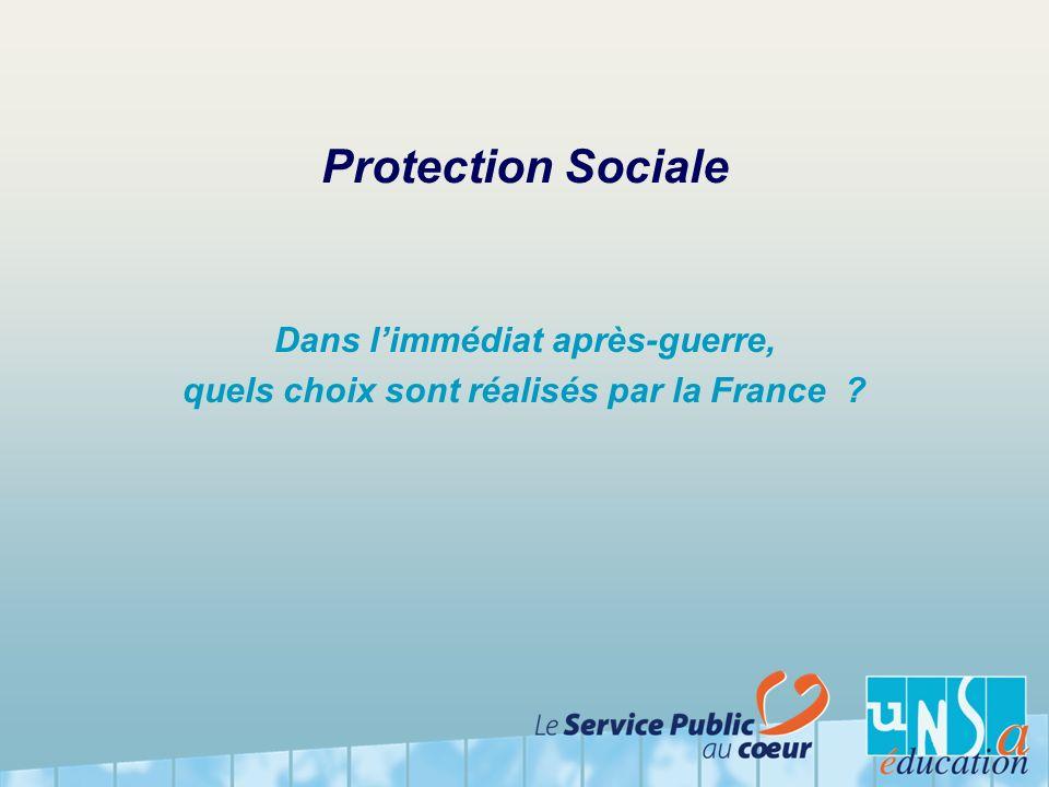 Protection Sociale Dans l'immédiat après-guerre, quels choix sont réalisés par la France