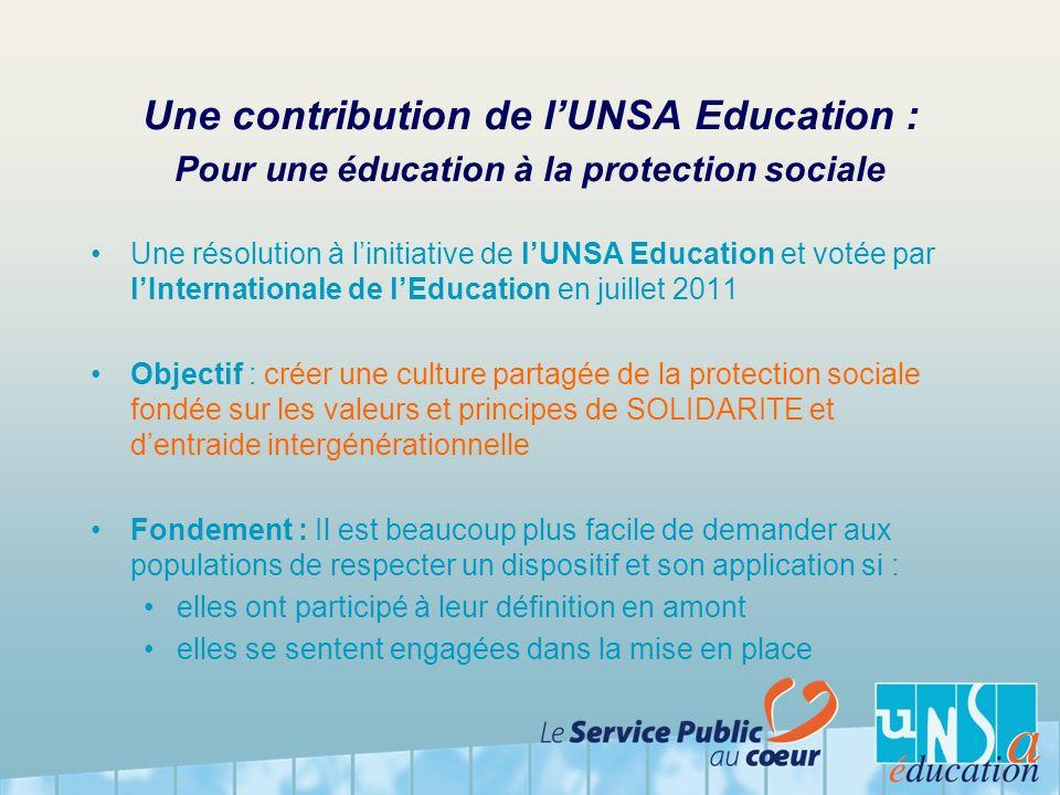 Une contribution de l'UNSA Education : Pour une éducation à la protection sociale