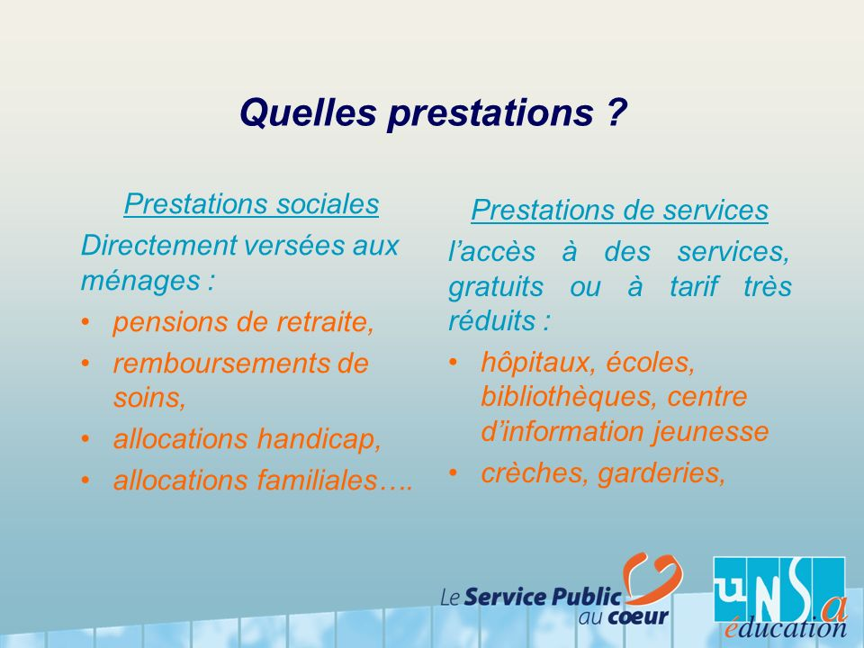 Prestations de services
