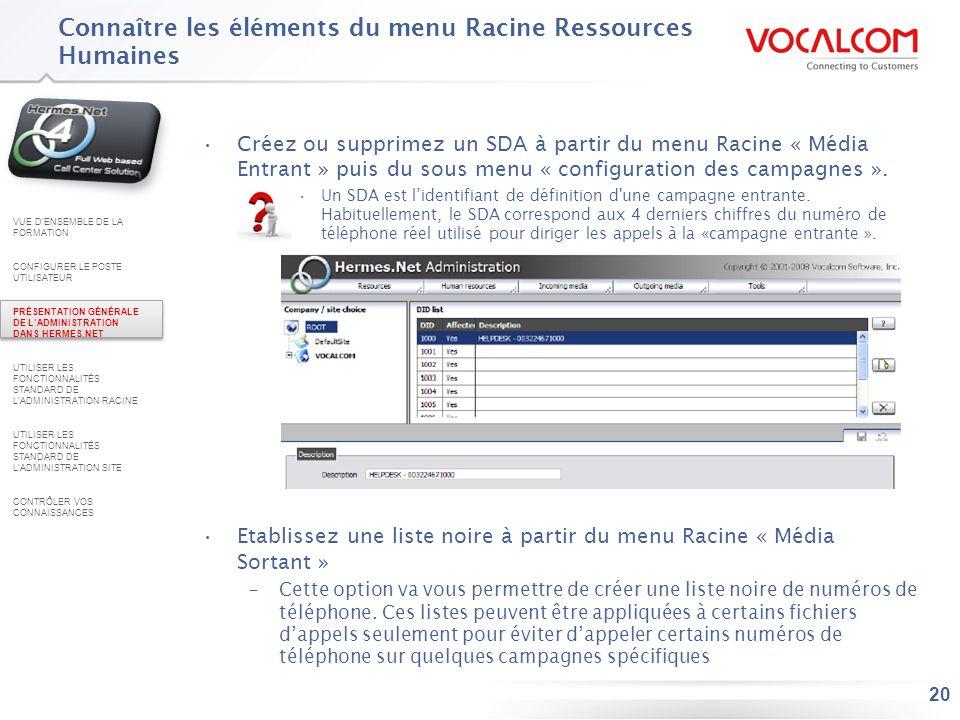 Connaître les éléments du menu Ressources Racine (ou Root ) (1/3)