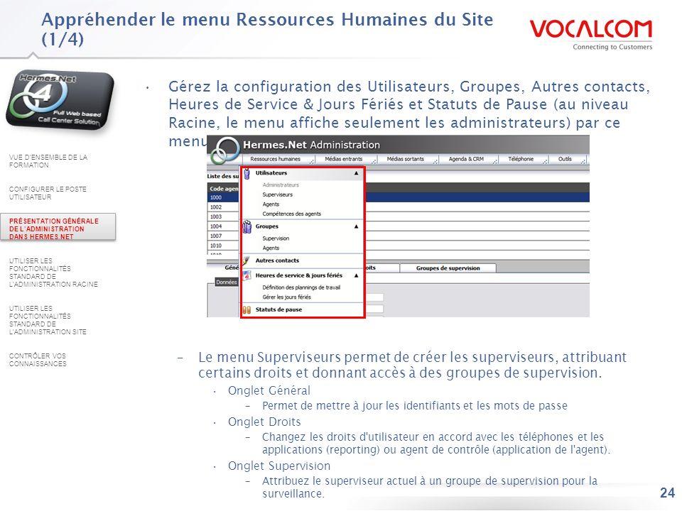 Appréhender le menu Ressources Humaines du Site (2/4)