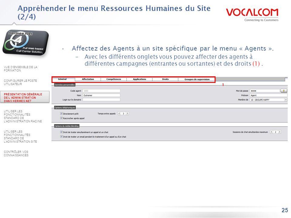 Appréhender le menu Ressources Humaines du Site (3/4)