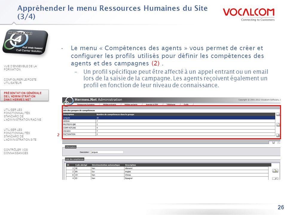 Appréhender le menu Ressources Humaines du Site (4/4)