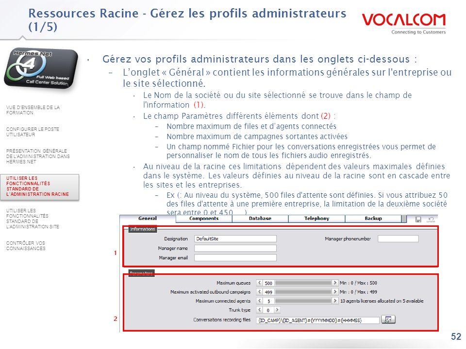 Ressources Racine - Gérez les profils administrateurs (2/5)