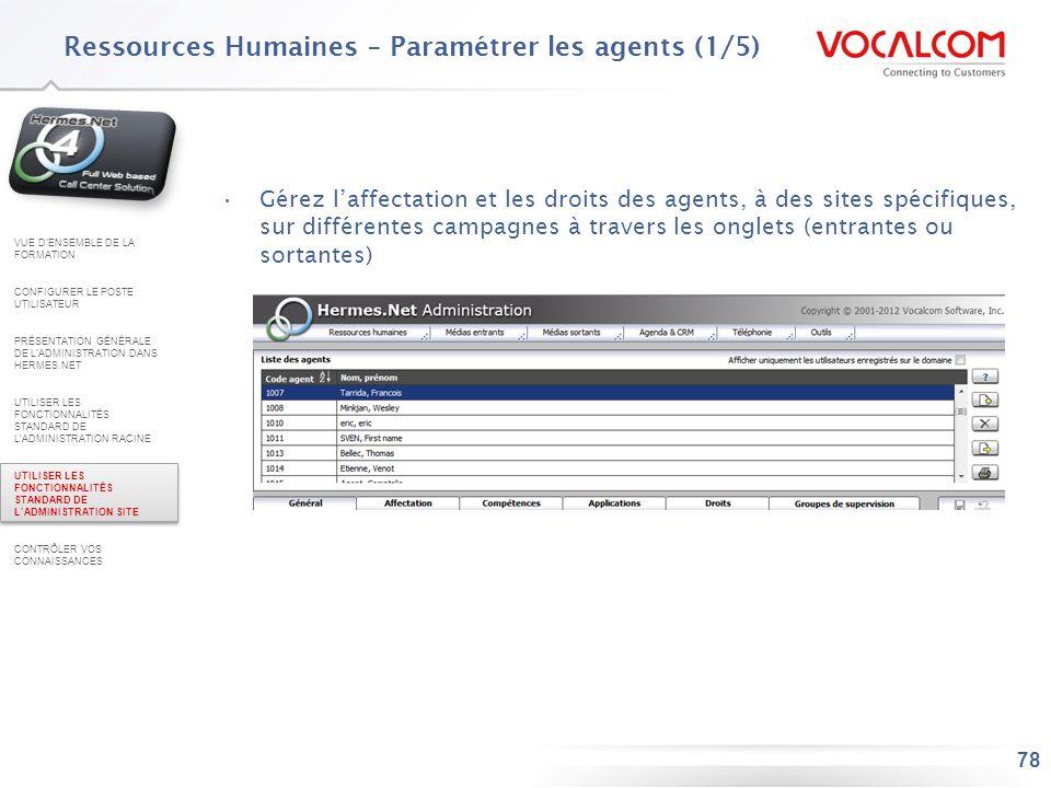 Ressources Humaines – Paramétrer les agents (2/5)