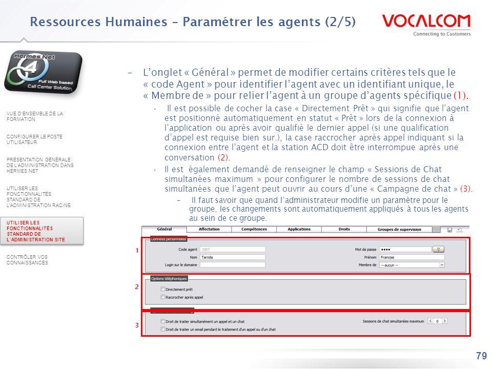Ressources Humaines – Paramétrer les agents (3/5)