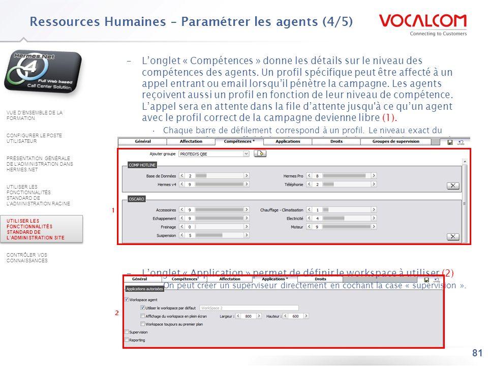 Ressources Humaines – Paramétrer les agents (5/5)