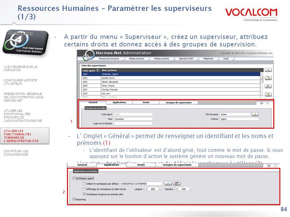 Ressources Humaines – Paramétrer les superviseurs (2/3)