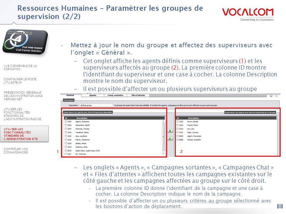 Ressources Humaines – Paramétrer les groupes de compétences (1/2)