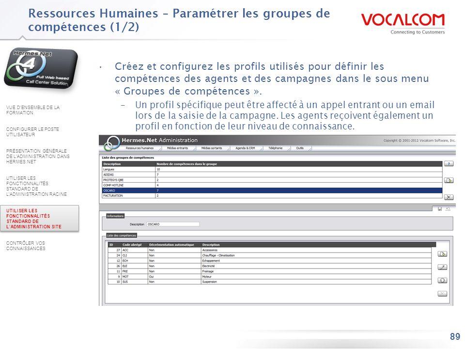 Ressources Humaines – Paramétrer les groupes de compétences (2/2)