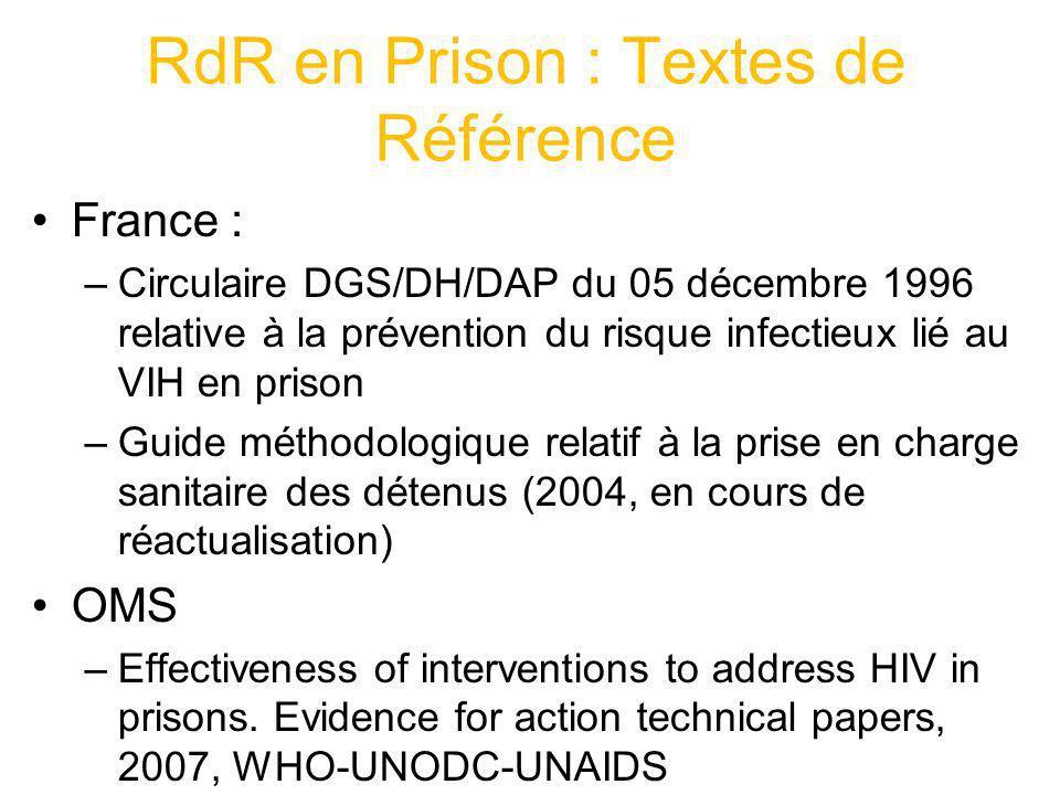 RdR en Prison : Textes de Référence