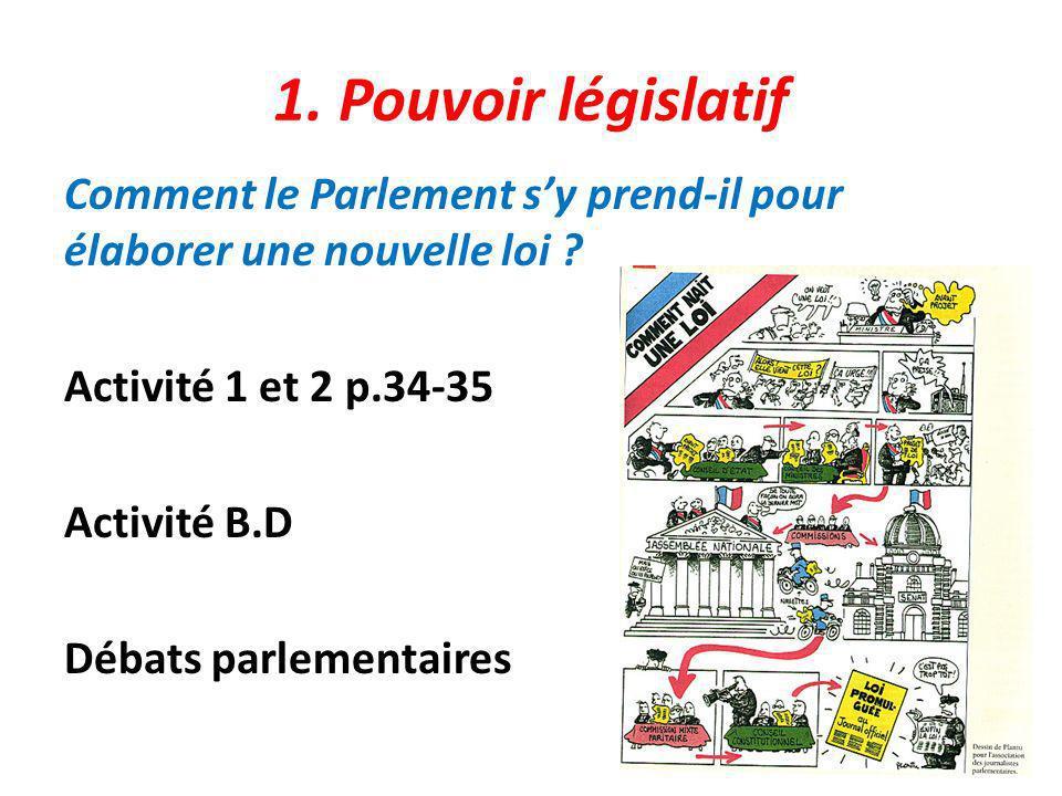 1. Pouvoir législatif Comment le Parlement s'y prend-il pour élaborer une nouvelle loi .