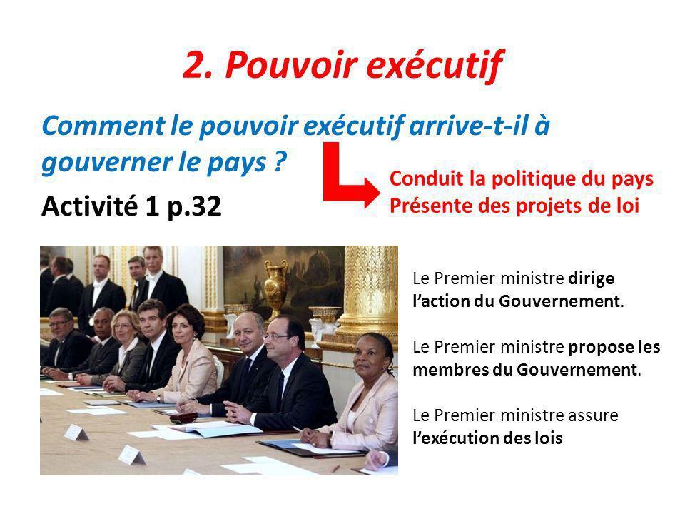 2. Pouvoir exécutif Comment le pouvoir exécutif arrive-t-il à gouverner le pays Activité 1 p.32 Conduit la politique du pays.