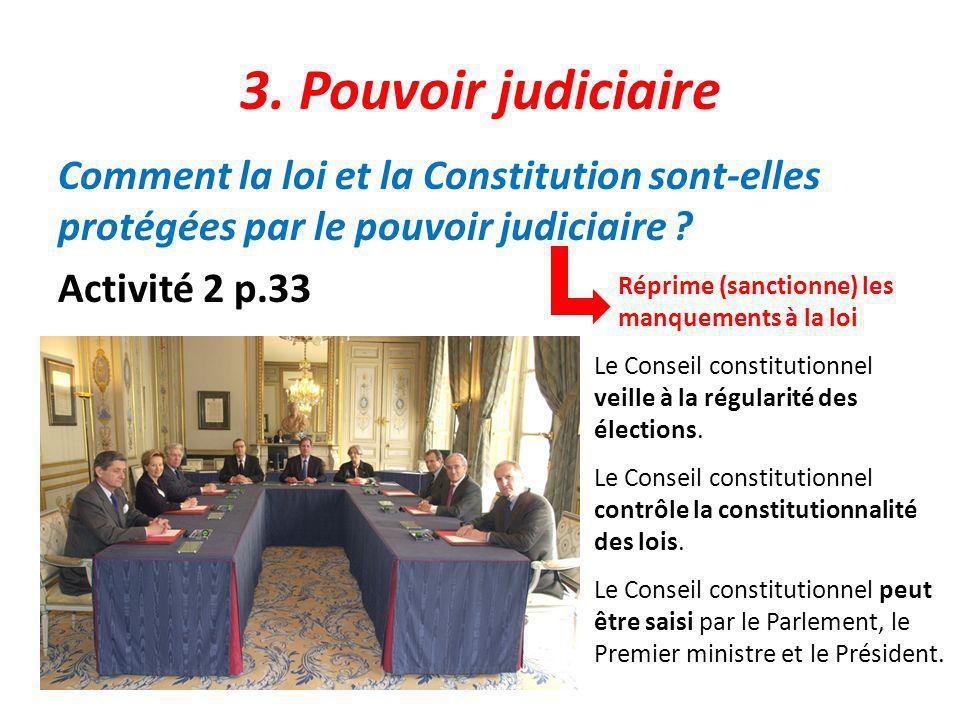 3. Pouvoir judiciaire Comment la loi et la Constitution sont-elles protégées par le pouvoir judiciaire Activité 2 p.33