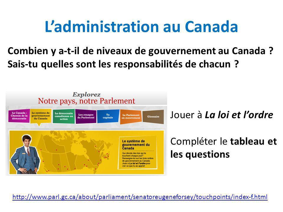 L'administration au Canada
