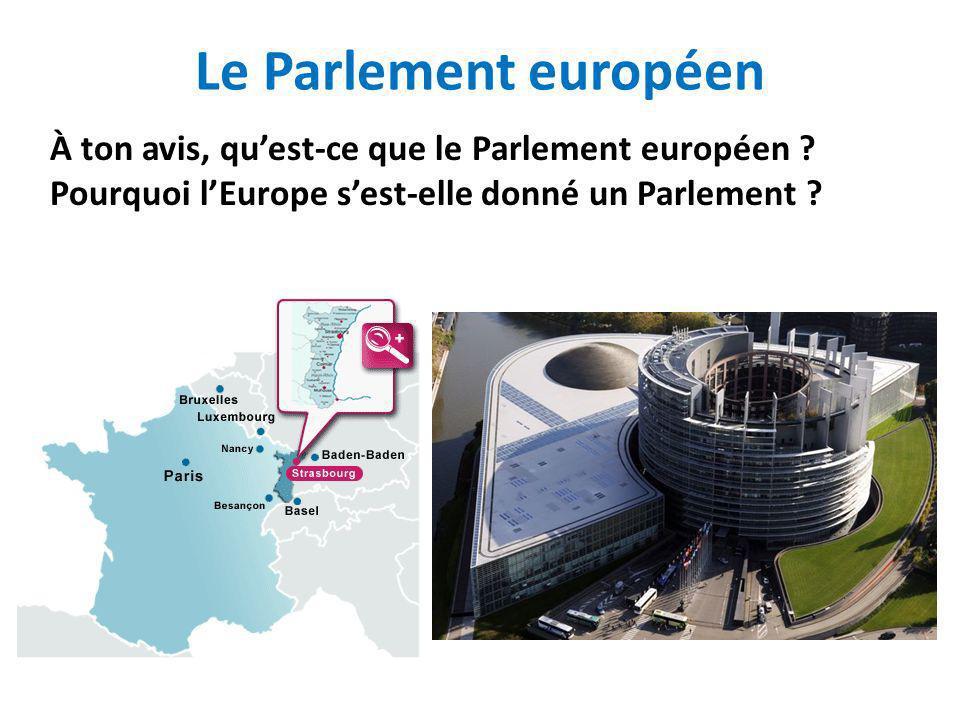 Le Parlement européen À ton avis, qu'est-ce que le Parlement européen .
