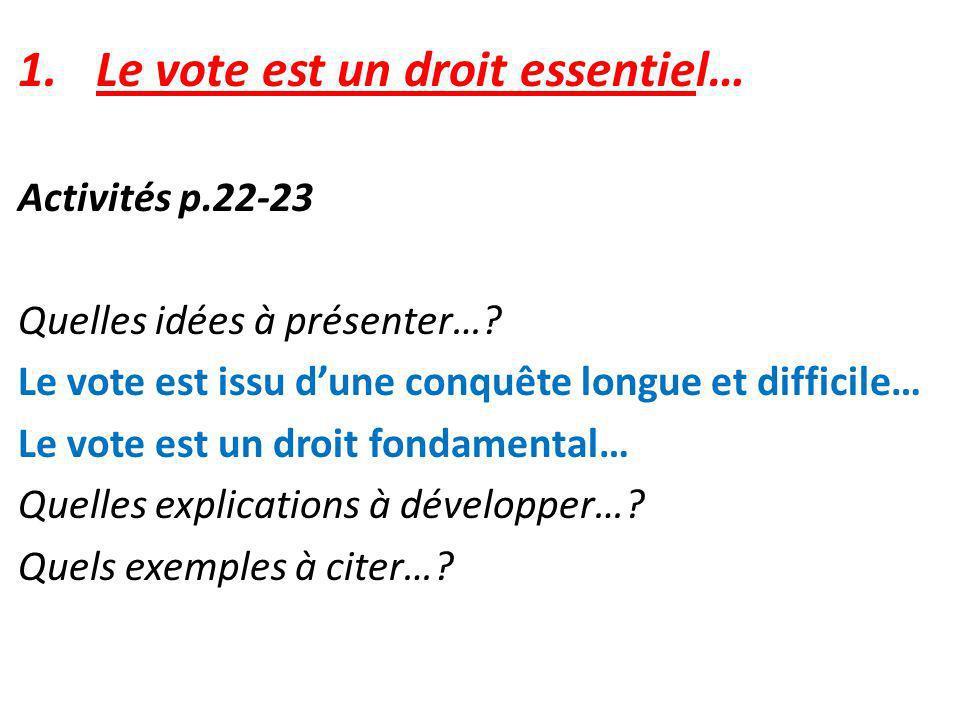 Le vote est un droit essentiel…