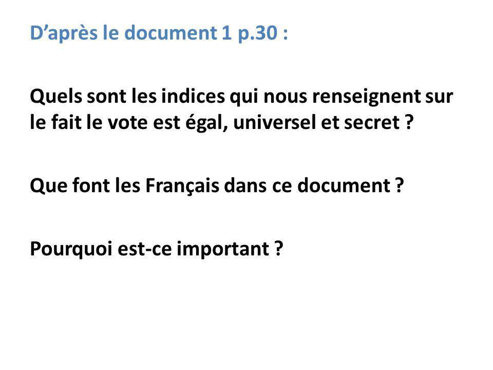 D'après le document 1 p.30 : Quels sont les indices qui nous renseignent sur le fait le vote est égal, universel et secret .