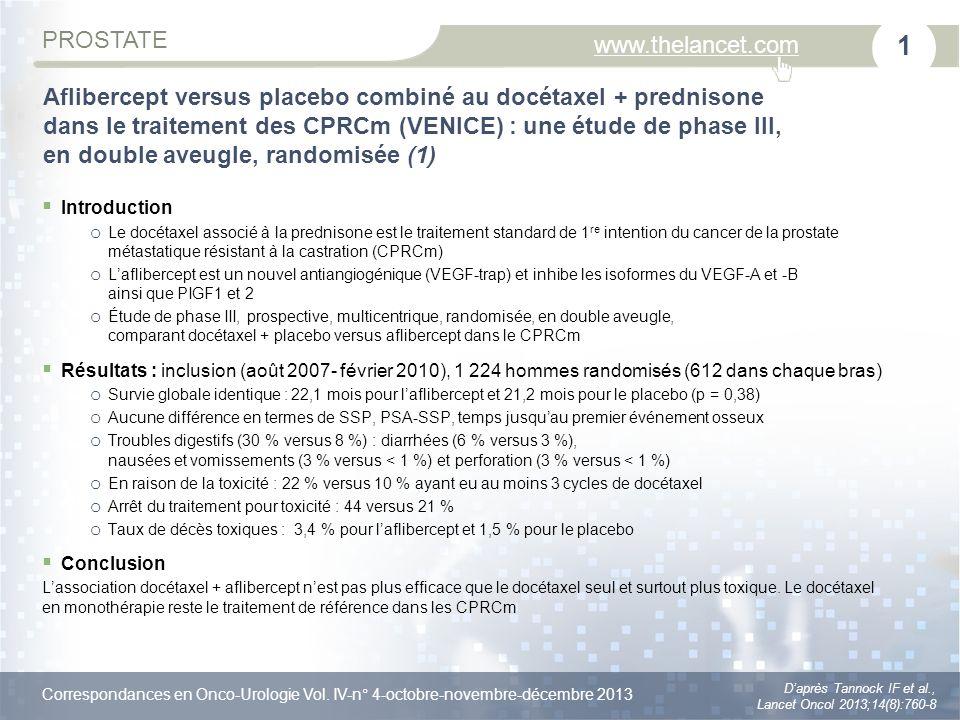 Aflibercept versus placebo combiné au docétaxel + prednisone dans le traitement des CPRCm (VENICE) : une étude de phase III, en double aveugle, randomisée (1)