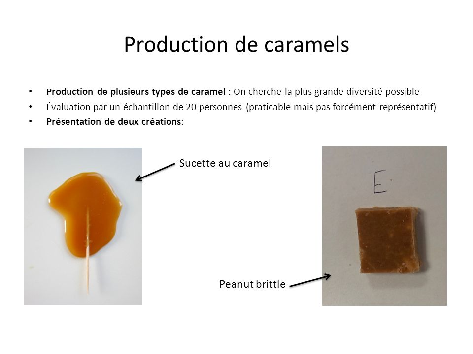 Production de caramels