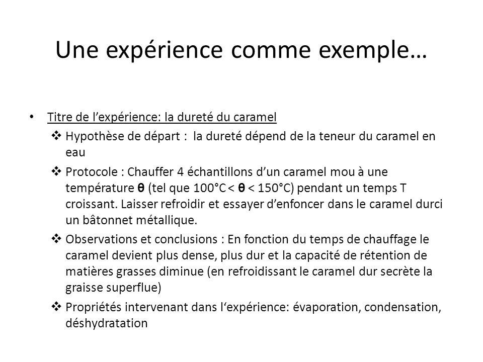 Une expérience comme exemple…