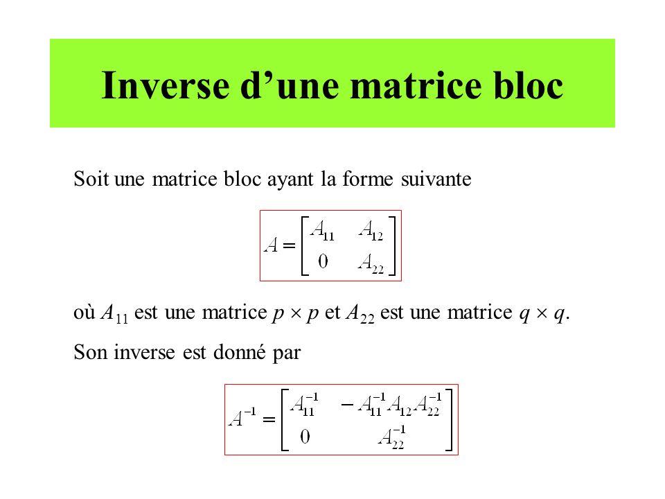 Inverse d'une matrice bloc