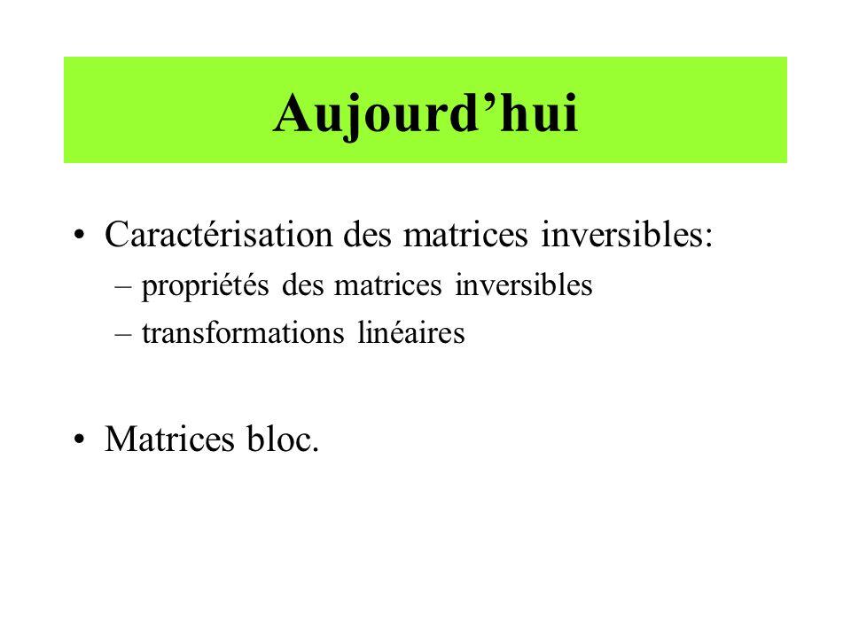 Aujourd'hui Caractérisation des matrices inversibles: Matrices bloc.