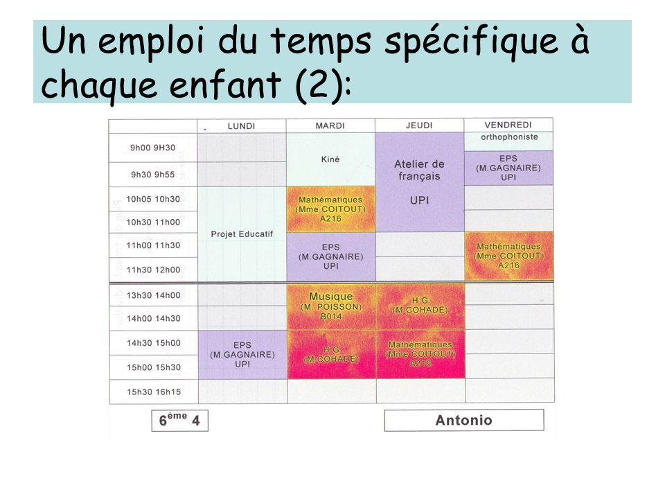 Un emploi du temps spécifique à chaque enfant (2):