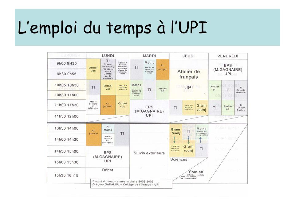 L'emploi du temps à l'UPI