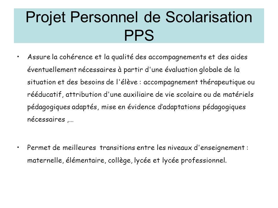 Projet Personnel de Scolarisation PPS
