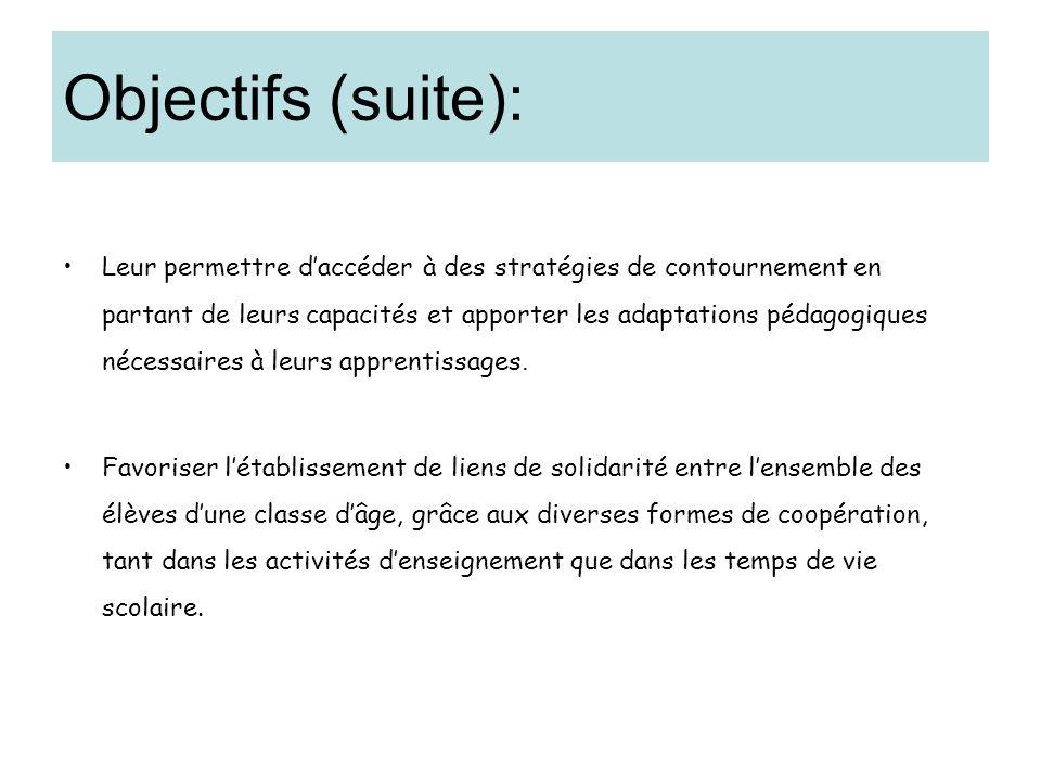 Objectifs (suite):
