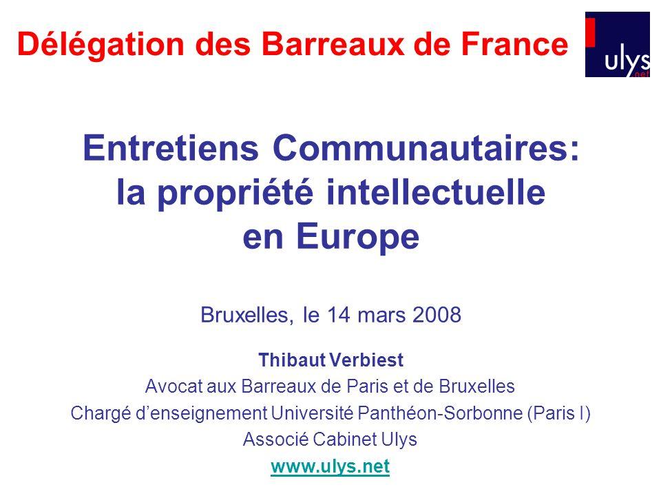 Entretiens Communautaires: la propriété intellectuelle en Europe