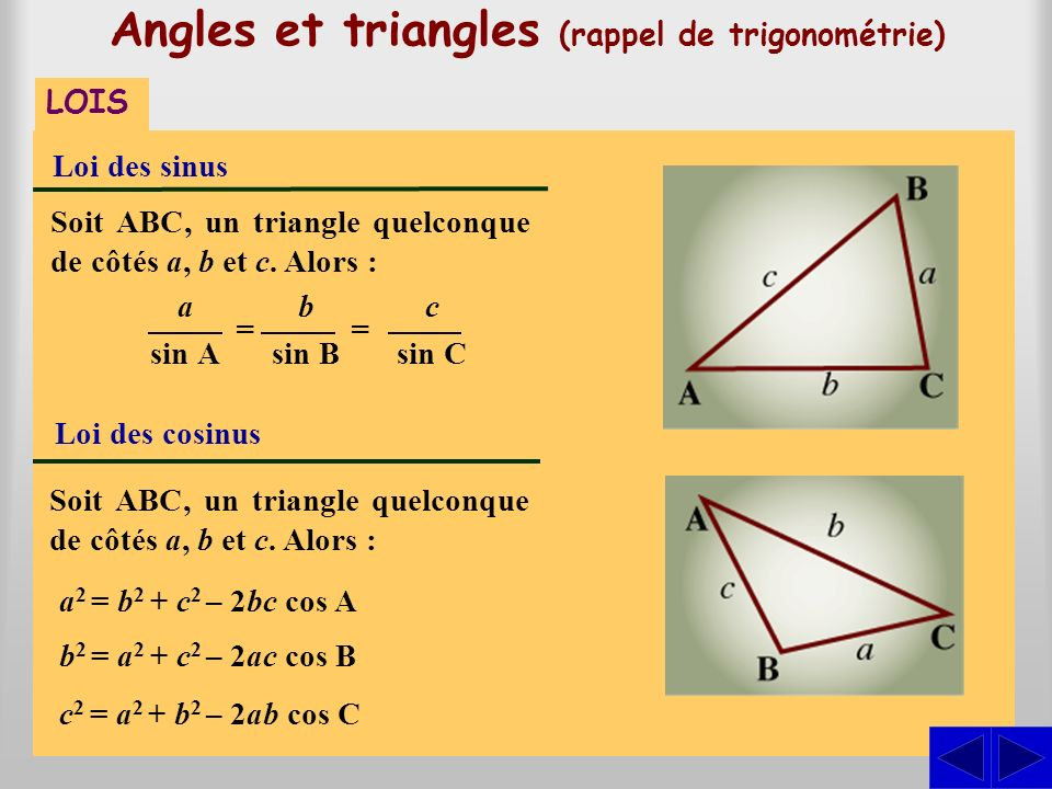 Angles et triangles (rappel de trigonométrie)