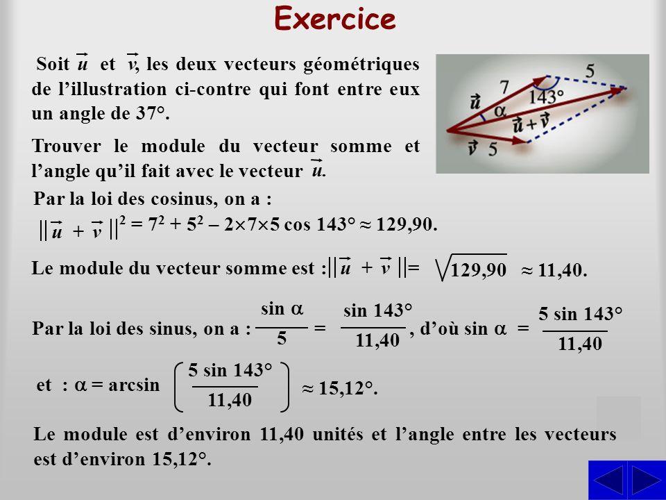 Exercice , les deux vecteurs géométriques de l'illustration ci-contre qui font entre eux un angle de 37°.