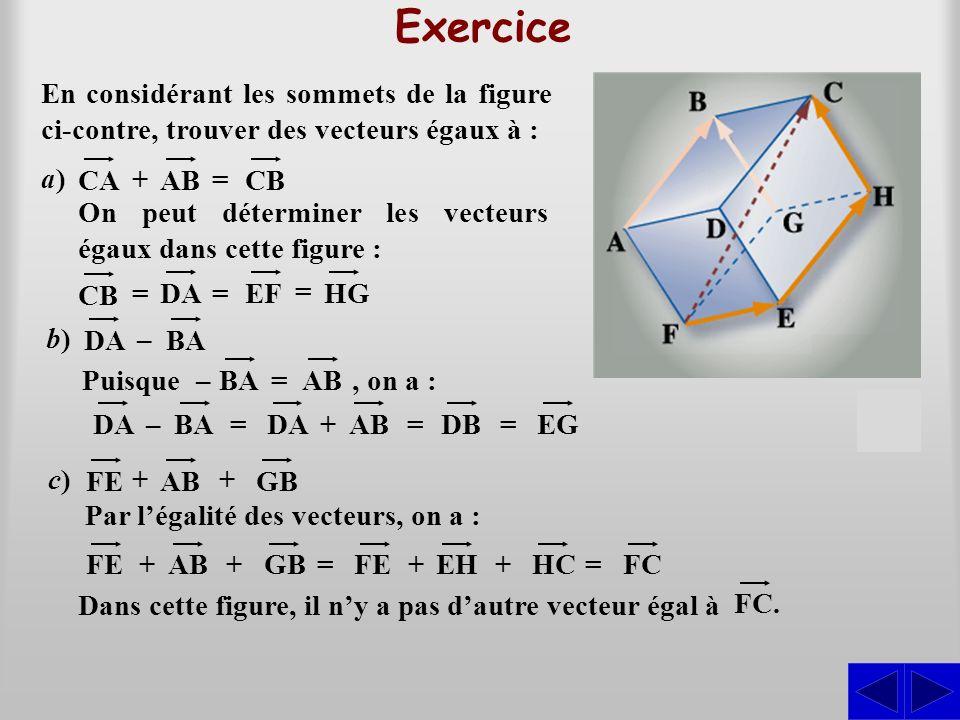 Exercice En considérant les sommets de la figure ci-contre, trouver des vecteurs égaux à : a) CA.