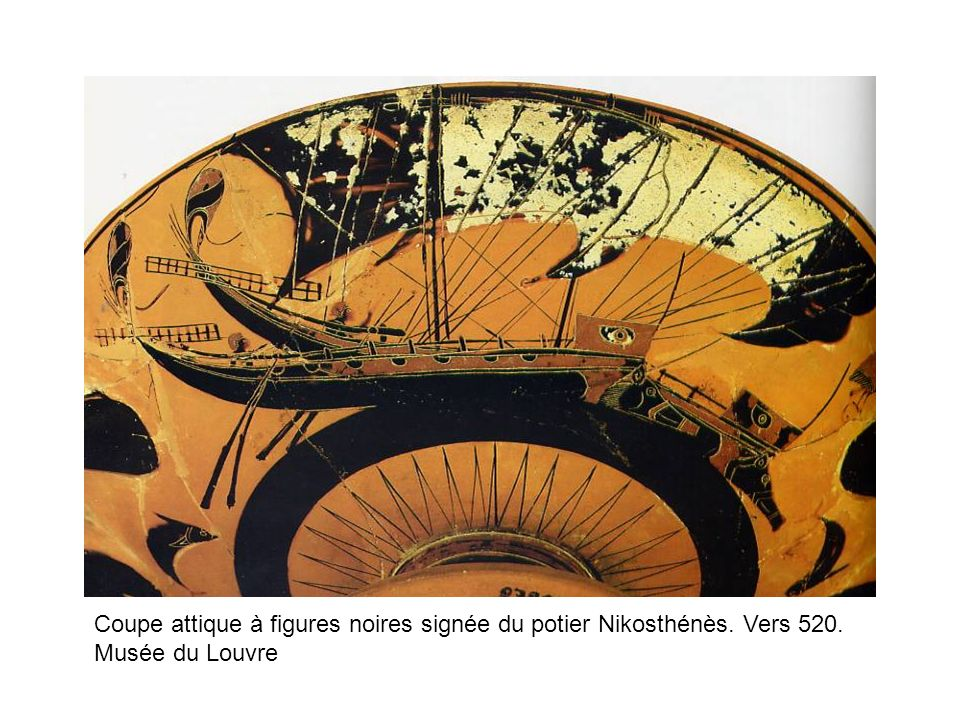 Coupe attique à figures noires signée du potier Nikosthénès. Vers 520.