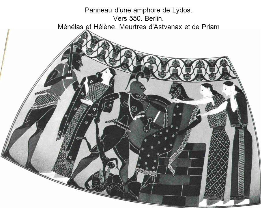 Panneau d'une amphore de Lydos. Vers 550. Berlin. Ménélas et Hélène