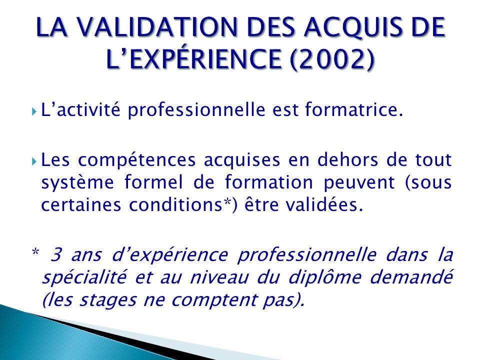 LA VALIDATION DES ACQUIS DE L'EXPÉRIENCE (2002)