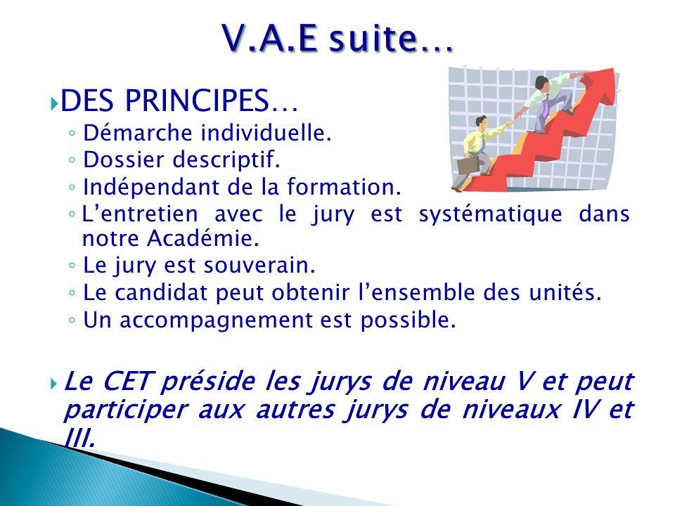 V.A.E suite… DES PRINCIPES…