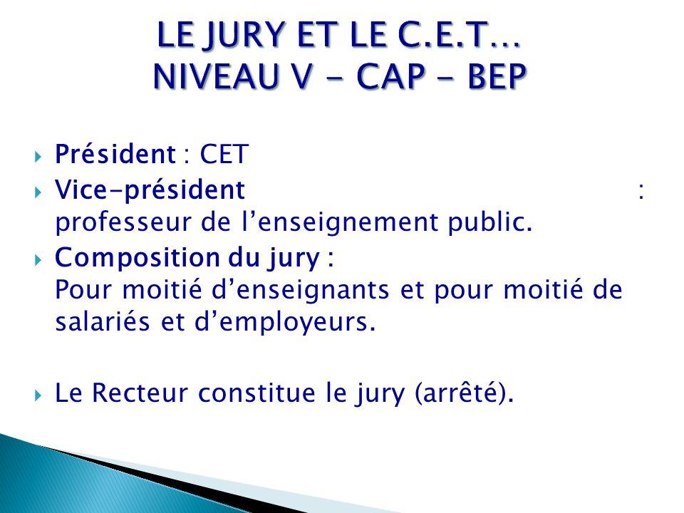 LE JURY ET LE C.E.T… NIVEAU V - CAP - BEP