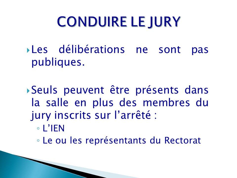 CONDUIRE LE JURY Les délibérations ne sont pas publiques.