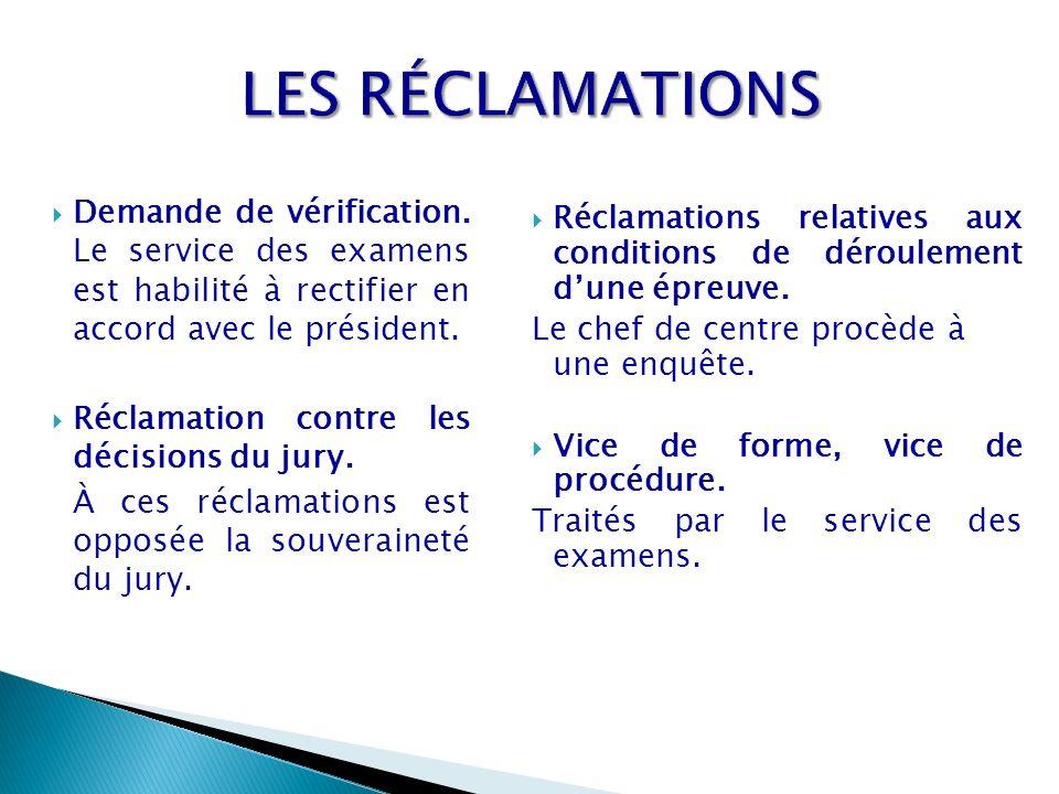 LES RÉCLAMATIONS Demande de vérification. Le service des examens est habilité à rectifier en accord avec le président.