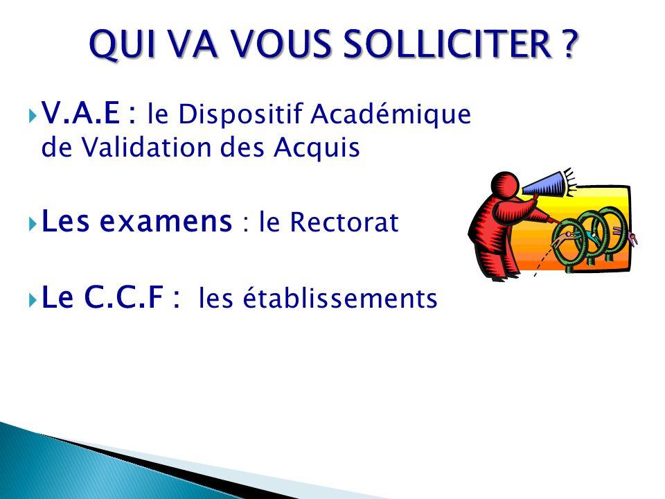 QUI VA VOUS SOLLICITER V.A.E : le Dispositif Académique de Validation des Acquis. Les examens : le Rectorat.