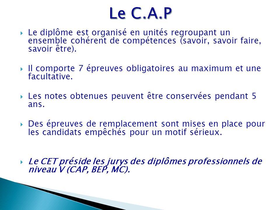 Le C.A.P Le diplôme est organisé en unités regroupant un ensemble cohérent de compétences (savoir, savoir faire, savoir être).