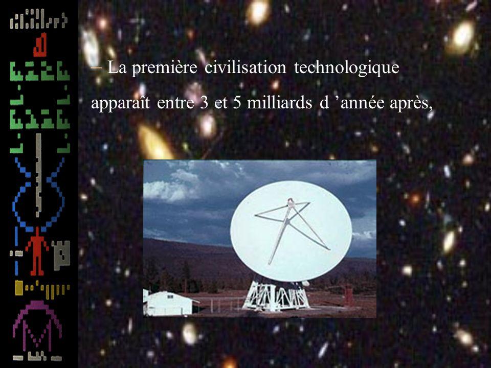 La première civilisation technologique apparaît entre 3 et 5 milliards d 'année après,