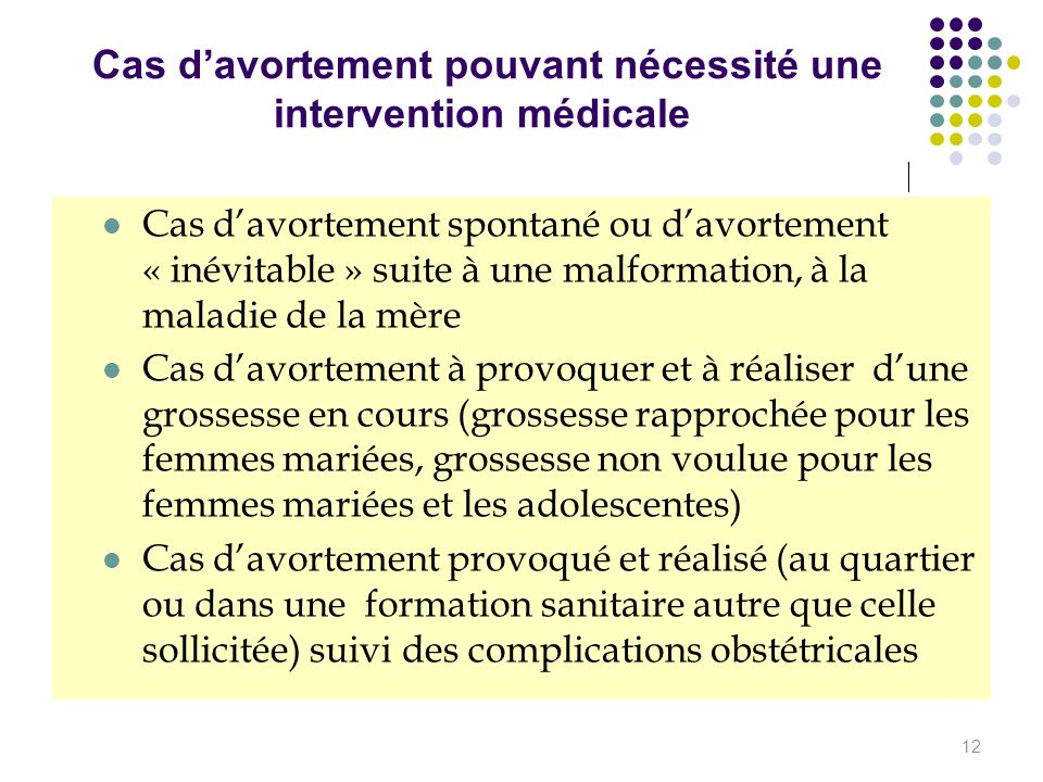 Cas d'avortement pouvant nécessité une intervention médicale