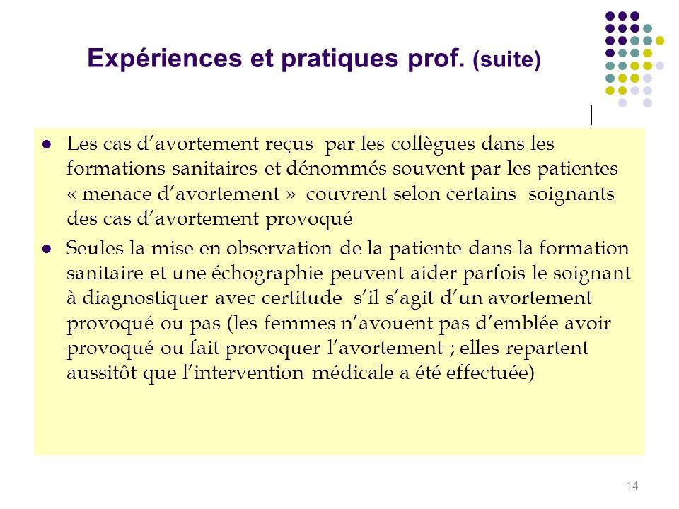 Expériences et pratiques prof. (suite)