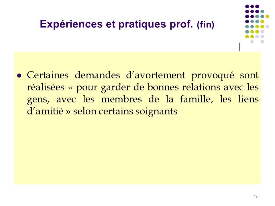 Expériences et pratiques prof. (fin)